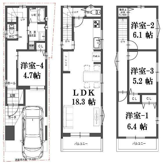 参考プラン間取り図 建物プラン例(D号地)4LDK、土地価格1520万円、土地面積50.29m2、建物価格1760万円、建物面積96.79m2
