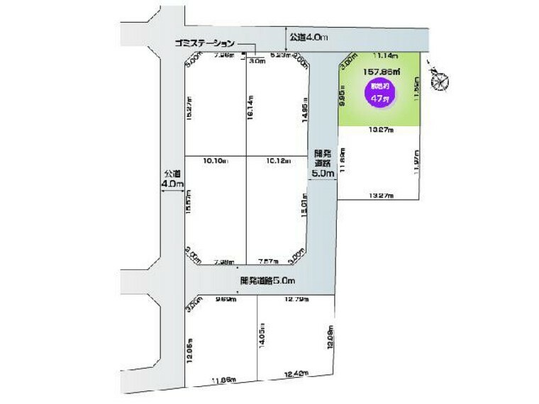 区画図 E号地 区画図・・・北西角地の整形地です。