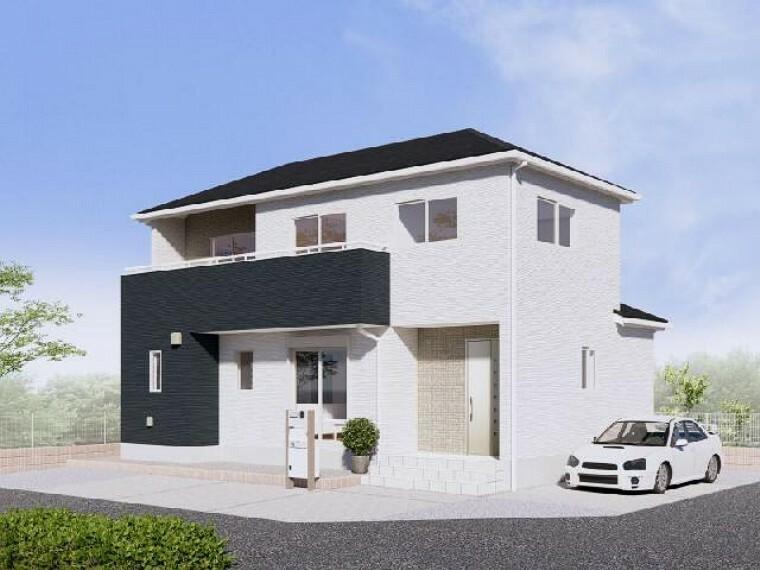 現況外観写真 A号棟 建物完成イメージ・・・窓・外壁の張り分けのデザイン含め、タテ・ヨコにバランスの取れた一邸です!!