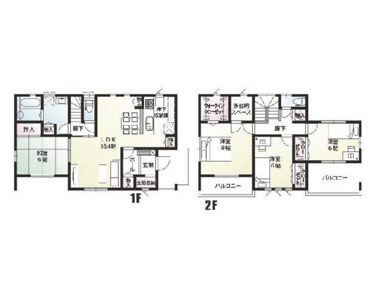 間取り図 E号棟 間取り図・・・なんといっても家族が集うLDKは余裕の18.4帖、キッチンやダイニングにも収納をしっかり配置してより広く、きれいに使って頂ける工夫が盛りだくさんのお家です。