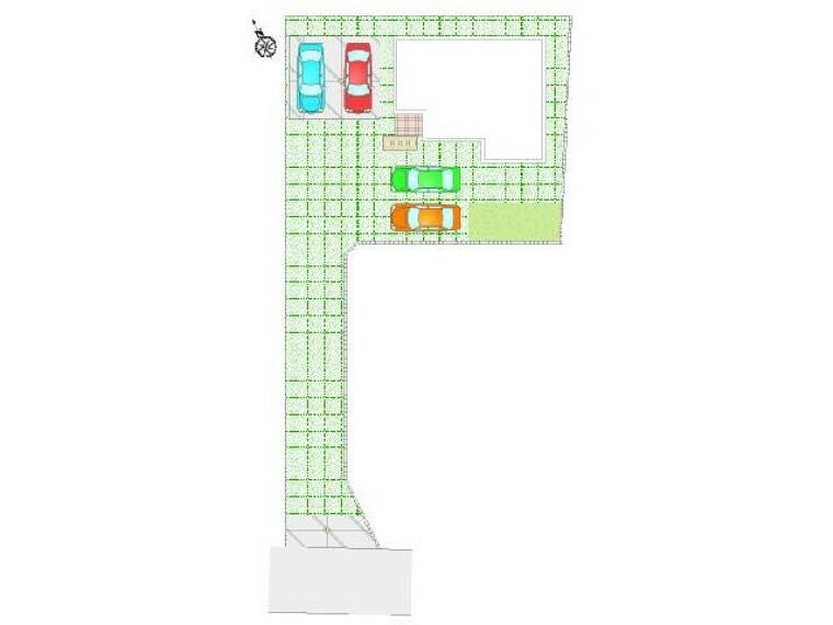 区画図 東矢島A号棟:区画図・・・並列2台駐車可能です。