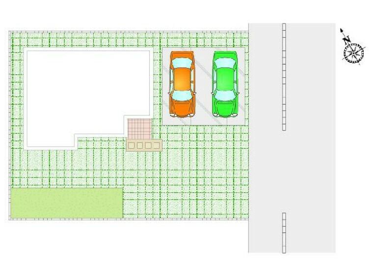 区画図 朝日C号棟:区画図・・・並列2台駐車可能です。