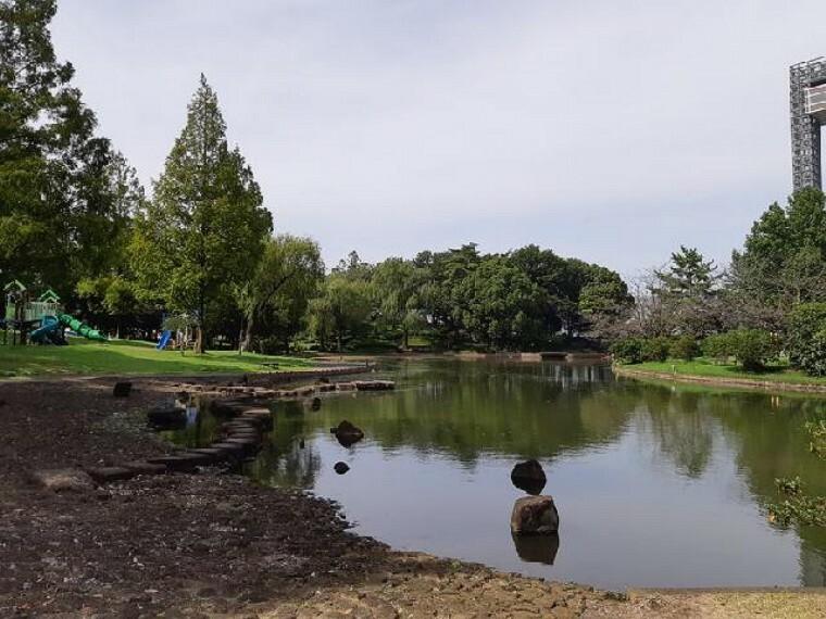御正作公園・・・御正作公園は、町の東側に位置する近隣公園です。公園のほぼ中央には池があり、池を中心に周りを散策することができます。 池の北側に広がる芝生広場にはウコン桜が植えられ、4月中頃になりますと淡黄緑色の花を咲かせます。