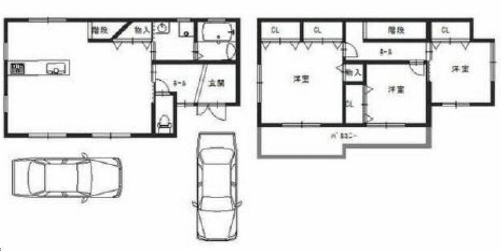 間取り図 南海岸和田駅徒歩12分・H26年1月築・全居室収納付き・リビング階段の3LDK・車種により駐車2台可