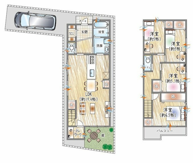 【9号地参考プラン例】 3階建て×4LDK×収納豊富 シューズ類はもちろん、ベビーカーやゴルフバッグなどをすっきりとしまえる、シューズインクローゼット