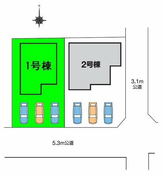 区画図 敷地面積約45坪!駐車スペース並列3台可能!