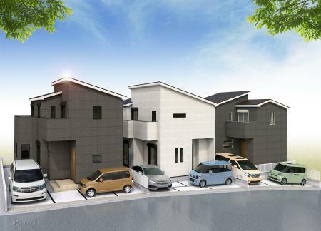 完成予想図(外観) 全3棟の新築戸建てが誕生致します。