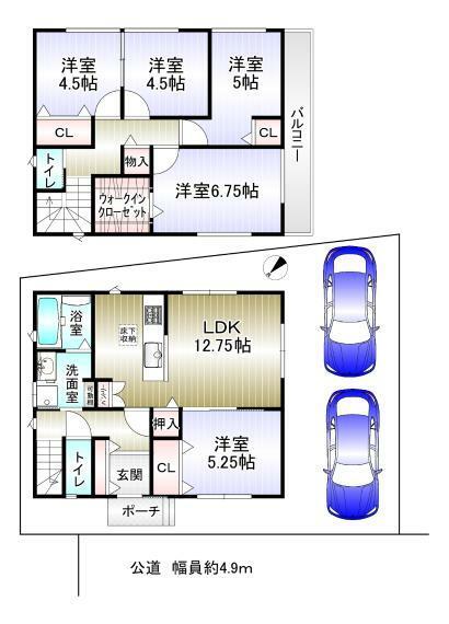 間取り図 5SLDK 1階49.27平米 2階49.27平米