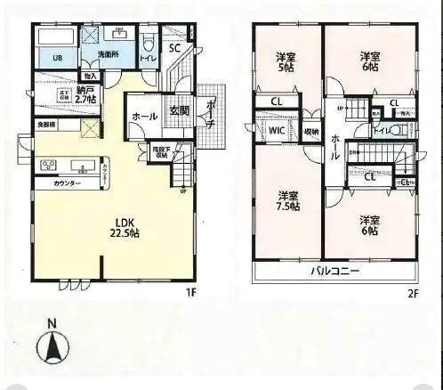 間取り図 4SLDK + WIC + SC 土地面積/183.74平米(約55.58坪) 建物面積/120.72平米(36.82坪)