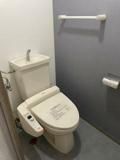 トイレ ウオシュレット付トイレ!北側壁面にはアクセントクロスを採用!