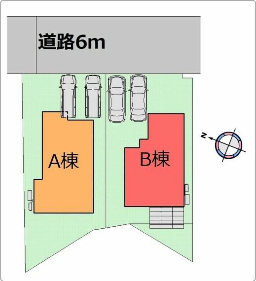 区画図 (区画図)駐車スペース並列2台を確保!ゆとりある前面道路で駐車も落ち着いてできます〇
