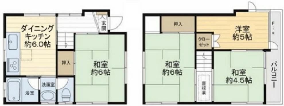 間取り図 4DK 3面採光の明るい住居 お気軽にお問い合わせください。