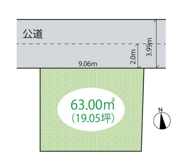 区画図 【区画図】土地面積/63平米!建築条件なし売地!お好きなハウスメーカーで建築できます!