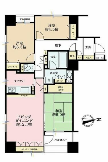 間取り図 3LDK、価格6580万円、専有面積75.01m2、バルコニー面積5.22m2