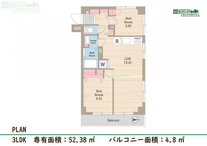 間取り図 【間取図】3LDK専有面積:52.38m2バルコニー:4.8m2