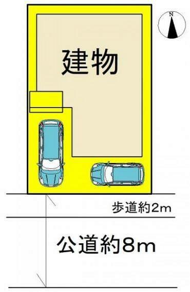 区画図 ●ゆとりの間口・前面道路●