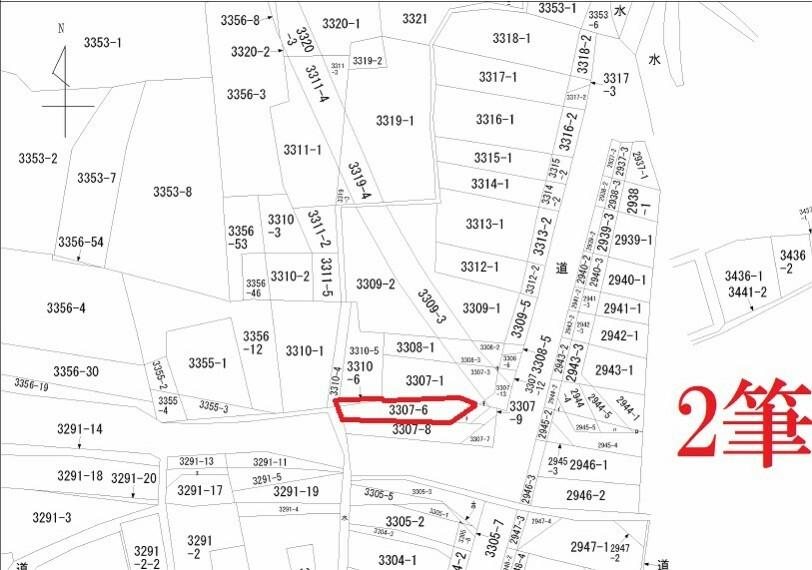 土地図面 売買対象土地は2筆。公簿面積は128.51平米です
