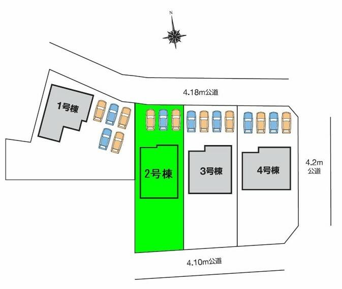 区画図 敷地面積60坪超!全棟広々南庭付き 駐車スペース並列3台可能!