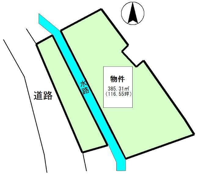 土地図面 公簿:385.31平米(116.55坪)