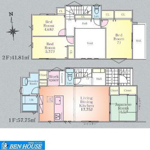 間取り図 間取図(2号棟)・吹抜けで開放感のあるリビング・水回り設備がキッチン周辺にまとまった家事動線の短く済むプラン・並列駐車2台可能・各居室収納完備でどちらのお部屋もスッキリと利用できます