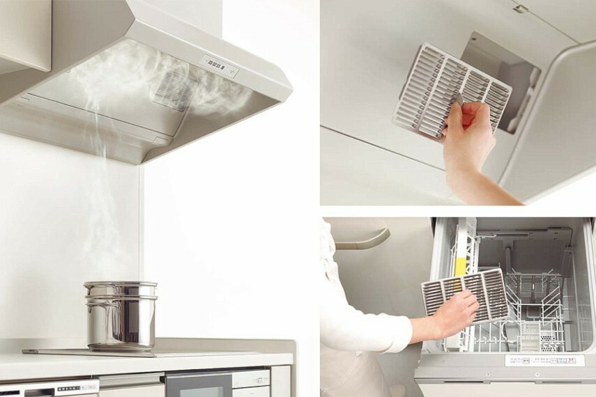キッチン/トクラス「サイクロンフード」  煙をしっかりキープする「サイクロンフードIII」は、内部への油汚れの流入を抑え、小型フィルターなのでお手入れ簡単、食洗機でもOK!