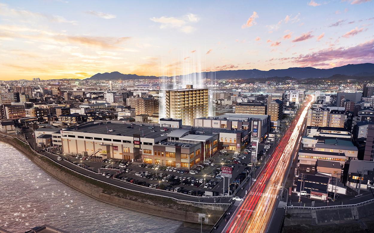 アルファステイツ東那珂(現地周辺の写真(2021年1月撮影)に完成予想CGを合成したもので実際とは異なります)