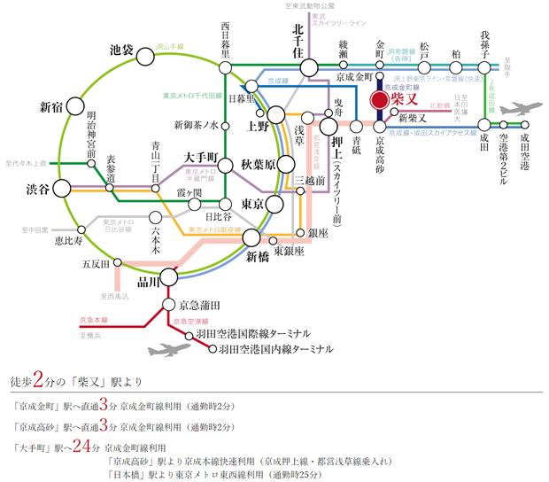 徒歩2分の「柴又」駅から1駅で、東京メトロ千代田線直通の「金町」駅・都営浅草線直通の「京成高砂」駅へ。<BR />※掲載の所要時間は、日中平常時のもので乗り換え待ち時間は含みません。(日中時 11:00~16:00、通勤時 7:00~9:00)<BR />※掲載の情報は2019年9月現在のものです。(ジョルダン調べ)<交通案内図>