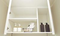 洗濯機置場上部吊戸棚設置