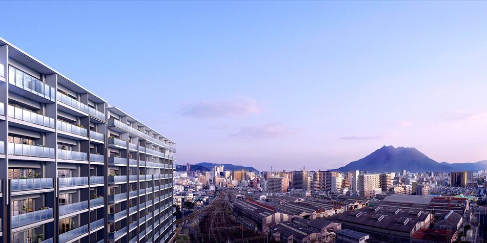 現地14階相当(約44m)からの眺望(2016年3月撮影)に完成予想CGを合成したもので実際とは異なります