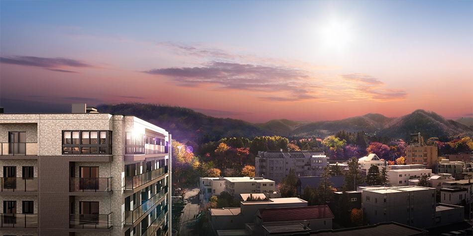 現地の高さ約25mから南方向の眺望(2020年11月撮影)に完成予想CGを合成したもので実際とは異なります