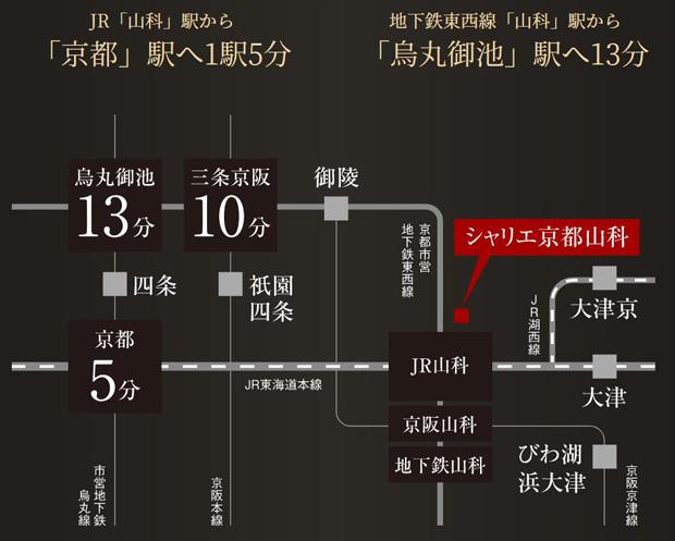 【JR「山科」駅徒歩8分 JR・地下鉄・京阪の3駅4路線利用可】<BR />慌ただしい日常を忘れ羽を休める人達にとって、思い立ったその時に出かけられる機動力は必要不可欠なもの。徒歩8分のJR「山科」駅から、新幹線停車駅の京都ターミナルへ1駅5分。さらに京都市営地下鉄東西線「山科」駅からは、京の中心部へもダイレクト。京都市内はもちろん、全国各地への移動もスムーズなポジションです。<BR />※交通所要時間は、日中平常時のもので、時間帯により多少異なります。また乗り換え・待ち時間は含まれておりません。※掲載の情報は2020年2月現在のものです。<交通案内図>