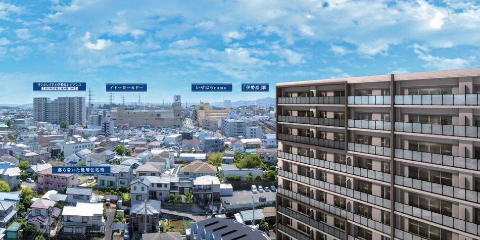 現地周辺の写真(現地12階相当から北西方向を2021年5月撮影)に完成予想CGを合成したもので実際とは異なります