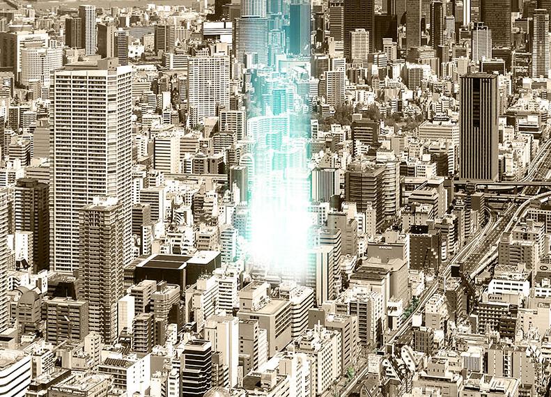 ファインレジデンス大阪本町(現地周辺の写真にCGを合成したもので実際とは異なります)