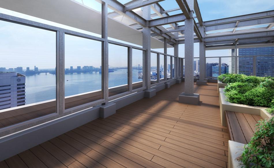 完成予想CG ※現地高さ約106m(32階相当)から東京湾方向の眺望(2021年4月撮影)を合成したもので実際とは異なります