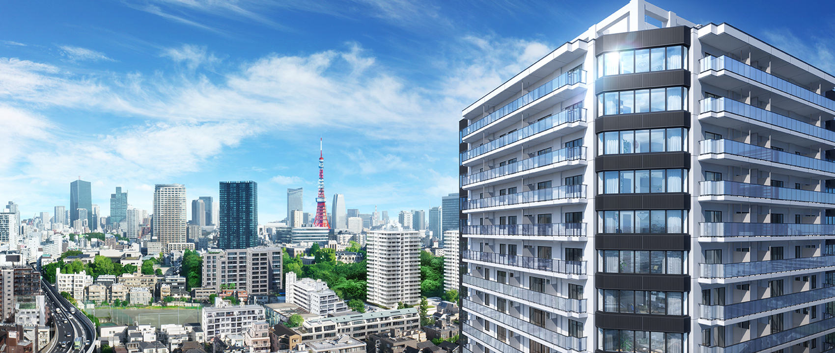 現地19階相当から北東方向の眺望(2018年11月撮影)に完成予想CGを合成したもので実際とは異なります