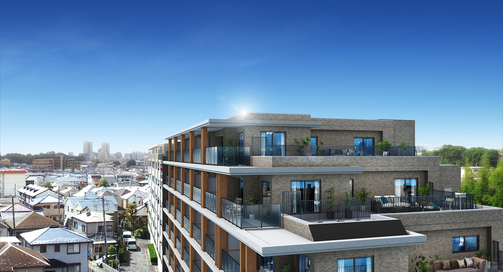 現地7階相当から南方向の眺望(2020年10月撮影)に完成予想CGを合成したもので実際とは異なります