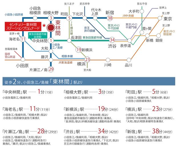 ※上記所要時間は、日中平常時および通勤時のもので時間帯により異なります。また、乗換、待ち時間は含まれません。※2019年2月 現在のダイヤによるものです。「駅すぱあと」調べ。<交通案内図>