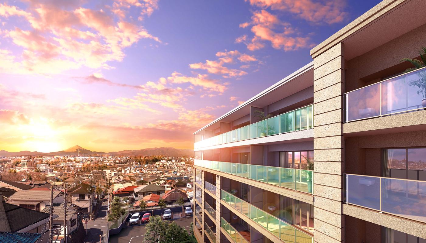 現地6階相当から南西方向の眺望(2021年3月撮影)に完成予想CGを合成したもので実際とは異なります