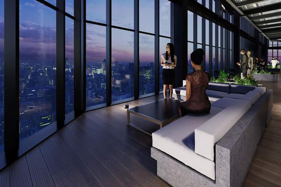 完成予想CG ※現地42階相当からの眺望(2021年1月撮影)を合成したもので実際とは異なります