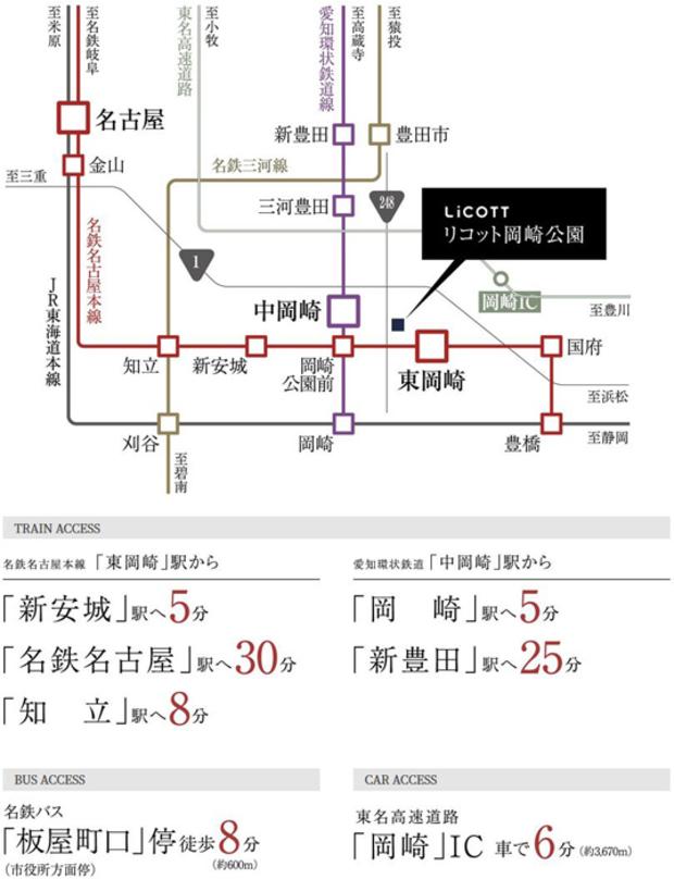 【3駅2路線。縦横に広がる、マルチなアクセスライン。】<BR />名鉄名古屋本線「東岡崎」や「岡崎公園前」駅から「名鉄名古屋」駅へ。愛知環状鉄道「中岡崎」駅から「新豊田」駅へ。最寄りの3駅2路線を使い、名古屋・豊田方面にもダイレクトアクセスが可能。毎日の通勤や通学をスマートに彩ります。<BR />※自動車の所要時間は実測によるものです。渋滞・待ち時間は含まれておりません。時間帯・交通事情などにより、さらに時間を要する場合がりますので予めご了承ください。※掲載内容は2020年9月時点のものです。<交通案内図>