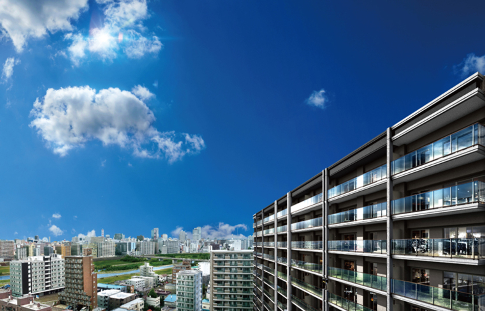 現地13階相当からの眺望(2020年10月撮影)に完成予想CGを合成したもので実際とは異なります