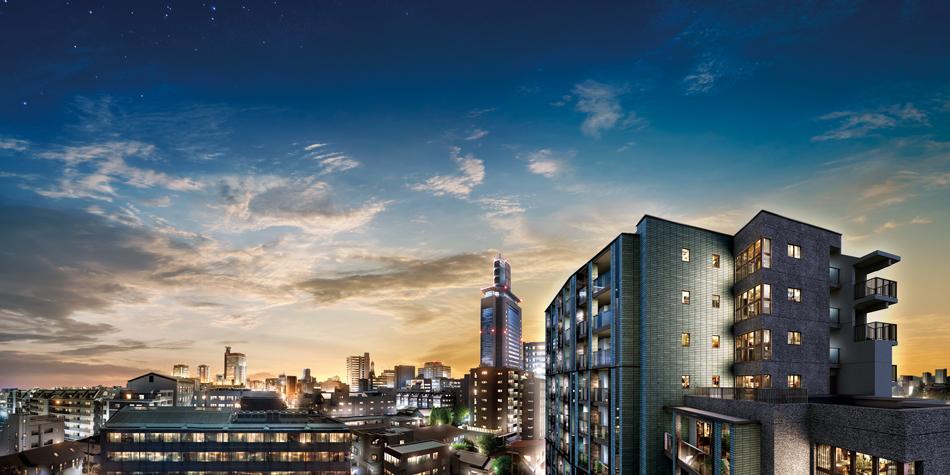 現地8階相当からの眺望(2020年10月撮影)に完成予想CGを合成したもので実際とは異なります