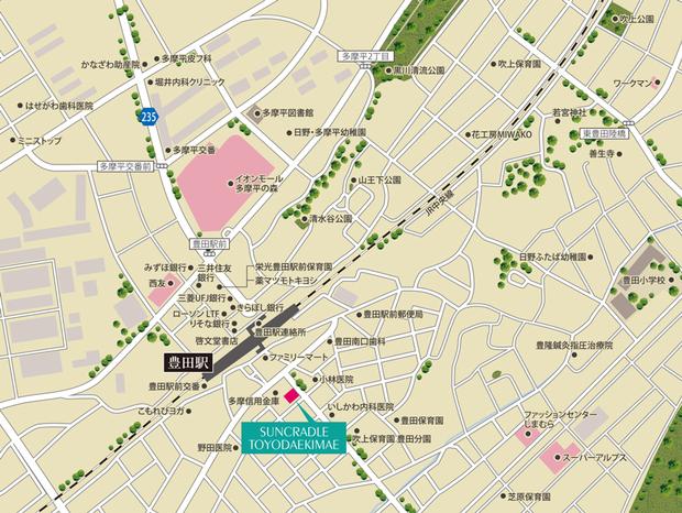 JR中央線「豊田」駅徒歩2分(約107m)<現地案内図>