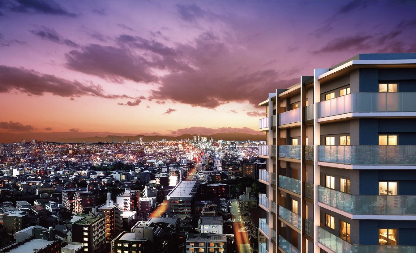 現地19階相当からの眺望(2020年11月撮影)に完成予想CGを合成したもので実際とは異なります