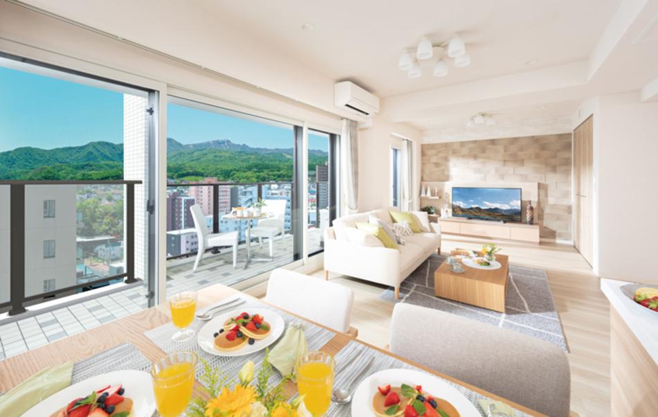 モデルルーム写真(Jタイプ) ※現地13階相当からの眺望(2020年5月撮影)を合成したもので実際とは異なります