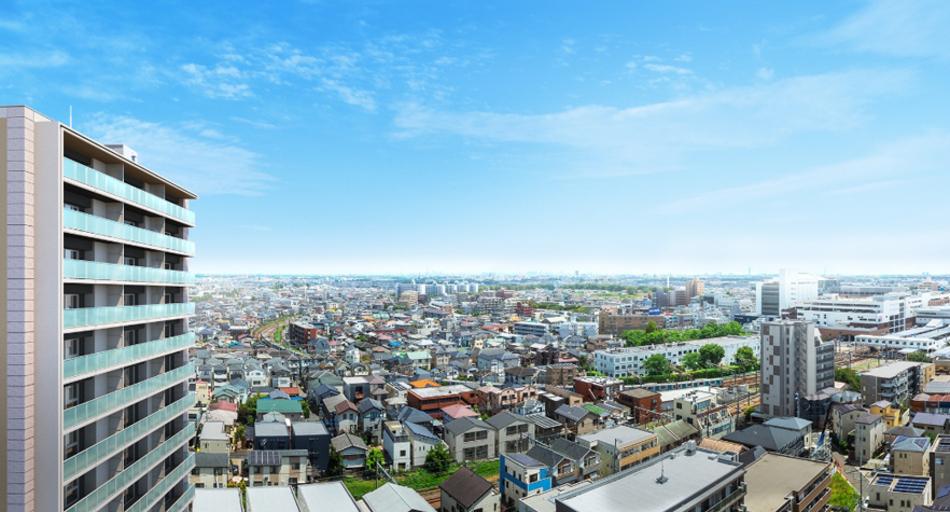 完成予想CG ※現地西側隣接地の所沢プレイス屋上から東方向の眺望(2021年8月撮影)を合成したもので実際とは異なります