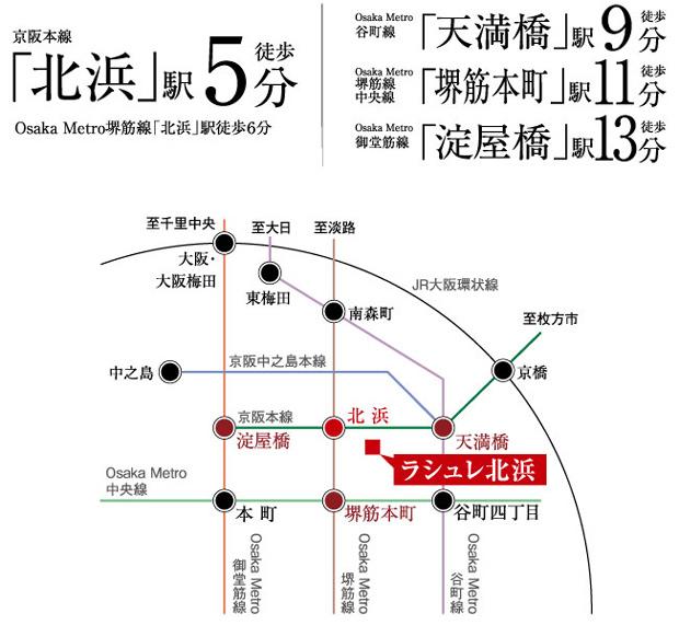 都心を謳歌する、快適マルチアクセス。《5線8駅利用可能》※1<BR />※1 5線8駅とは、京阪本線「北浜」駅・「天満橋」駅・「淀屋橋」駅、Osaka Metro御堂筋線「淀屋橋」駅、Osaka Metro堺筋線「北浜」駅・「堺筋本町」駅、Osaka Metro谷町線「天満橋」駅、Osaka Metro中央線「堺筋本町」駅になります。<交通案内図>