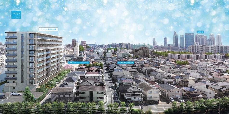 現地10階相当から東方向の眺望(2020年2月撮影)に完成予想CGを合成したもので実際とは異なります