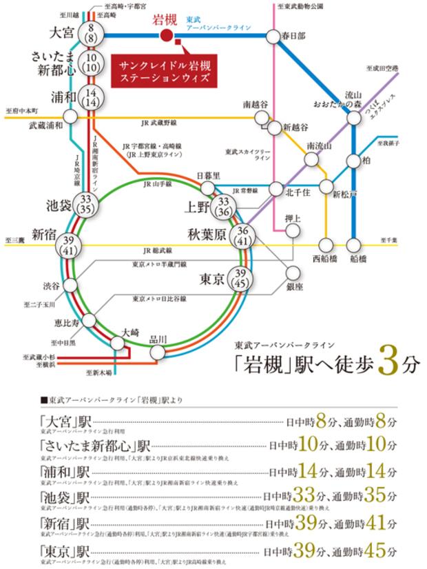 【都市主要駅まで快適アクセス】<BR />東武アーバンパークライン急行利用で1駅8分の「大宮」駅から、JR埼京線・湘南新宿ライン・高崎線を利用可能。池袋、新宿、上野、東京などの都心主要駅へ軽快にアクセスできます。<交通案内図>
