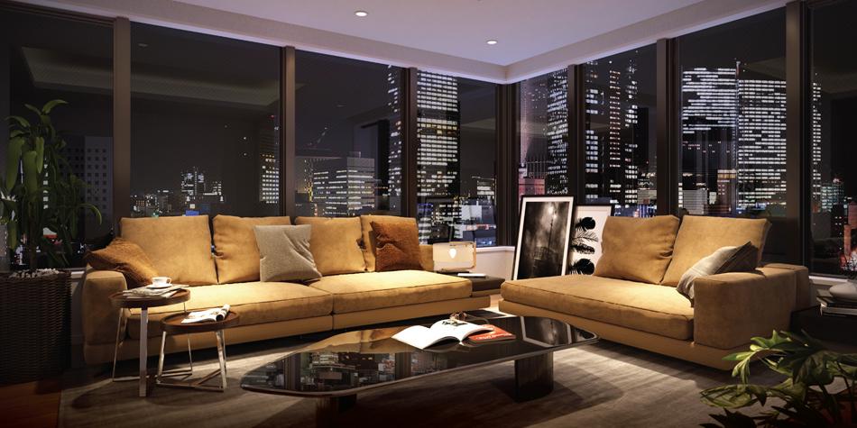 完成予想CG ※現地15階相当からの眺望(2020年4月撮影)を合成したもので実際とは異なります